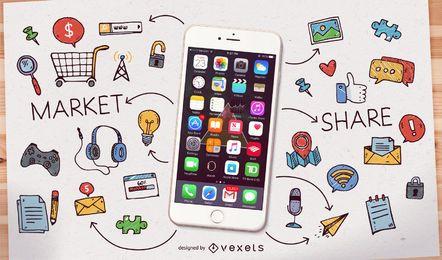 Smartphone com ícones e rabiscos