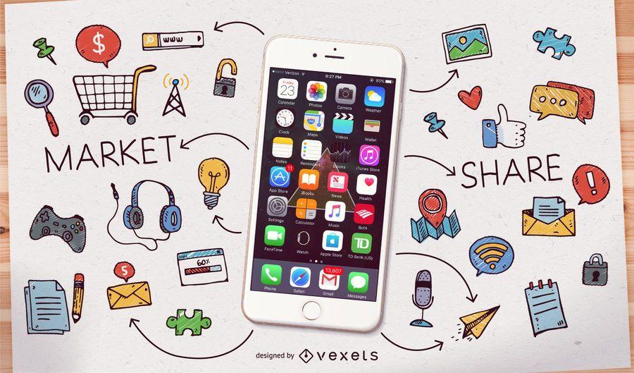 Smartphone com ícones e doodles