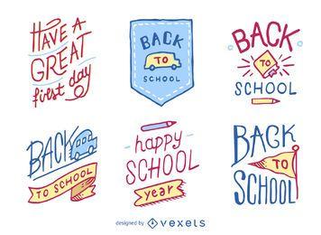 Mão, desenhado, costas, escola, emblemas, e, emblemas