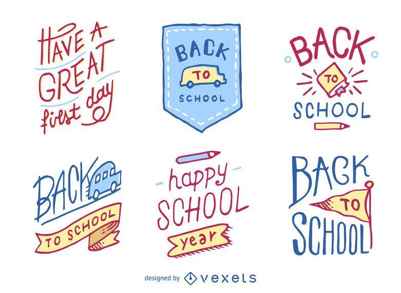Hand gezeichnet zurück zu Schulabzeichen und -emblemen