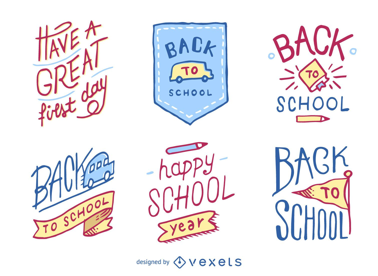Insignias y emblemas de regreso a la escuela dibujados a mano.