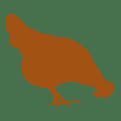 Pollo comiendo silueta Transparent PNG