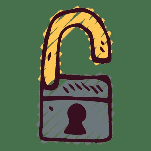 Candado doodle abierto Transparent PNG