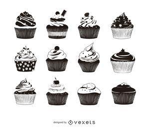 Pacote de silhueta de 12 cupcake