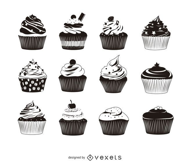 Packung mit 12 Cupcake-Silhouette