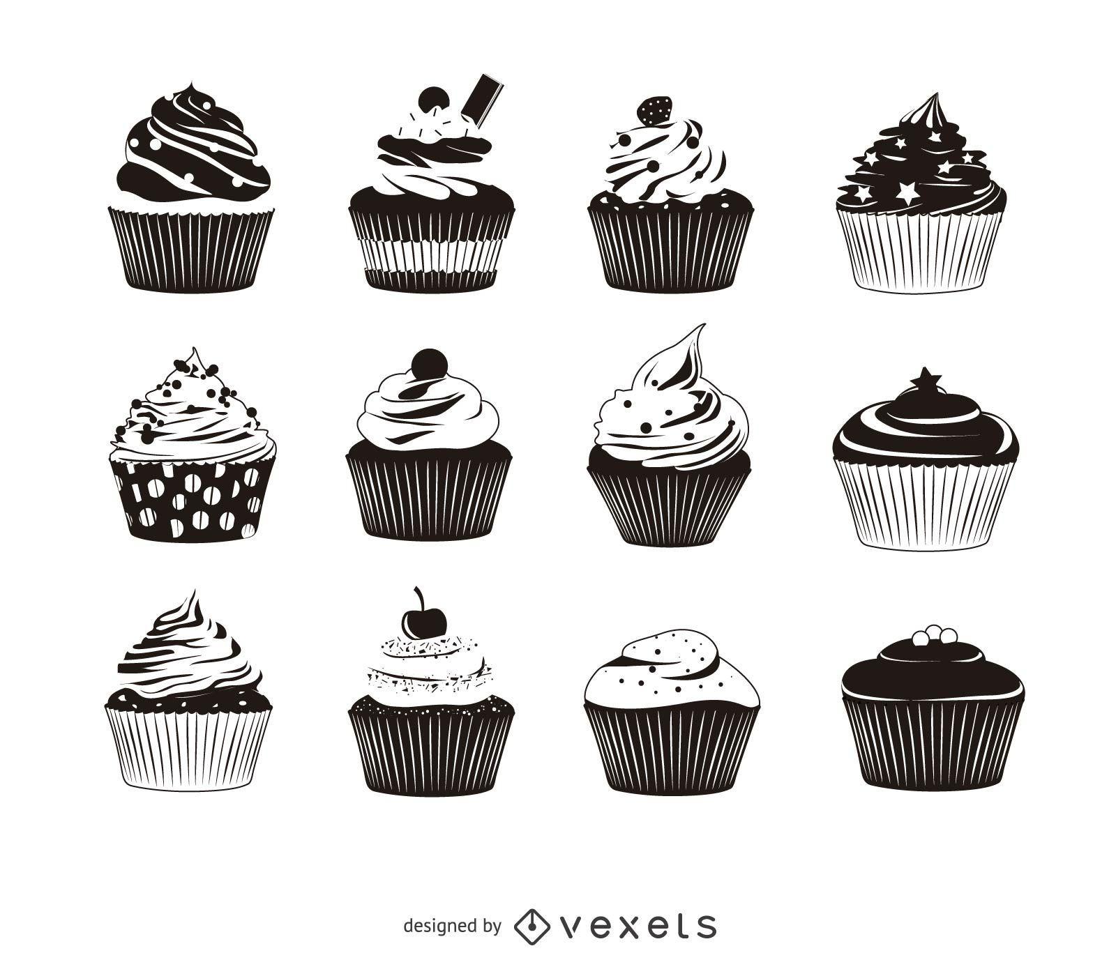 12 cupcake silhouette pack