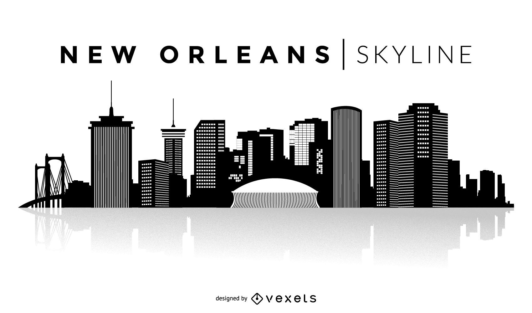 New Orleans Silhouette Skyline Vector Download