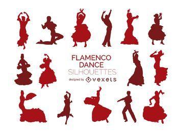 Flamenco-Tänzer-Silhouetten
