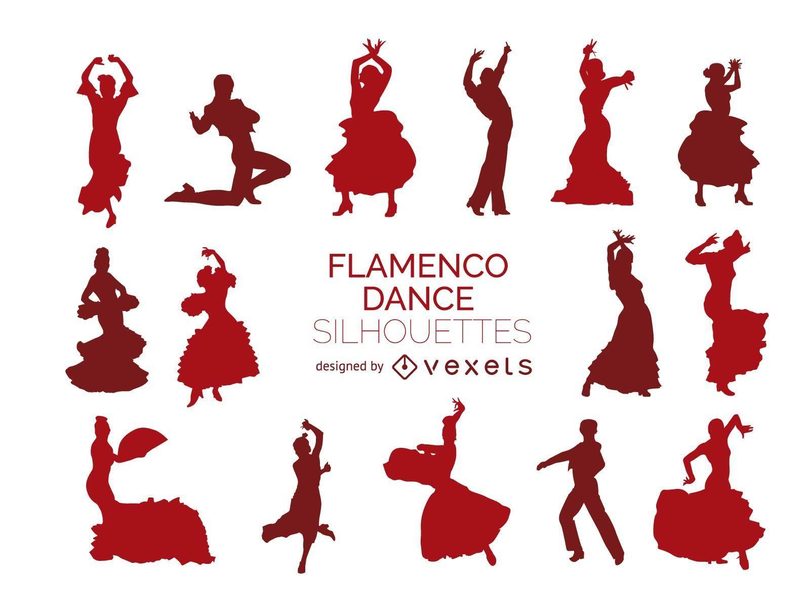 Silhuetas de dançarina de flamenco