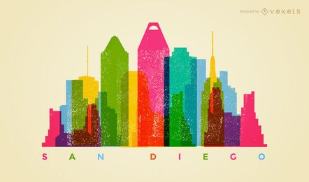 Skyline de San Diego colorida