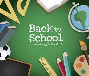 Volver a la escuela marco de fondo con útiles escolares