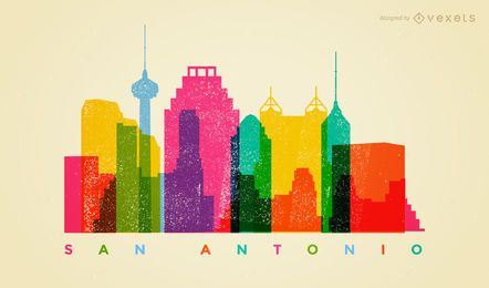 Skyline colorida de San Antonio