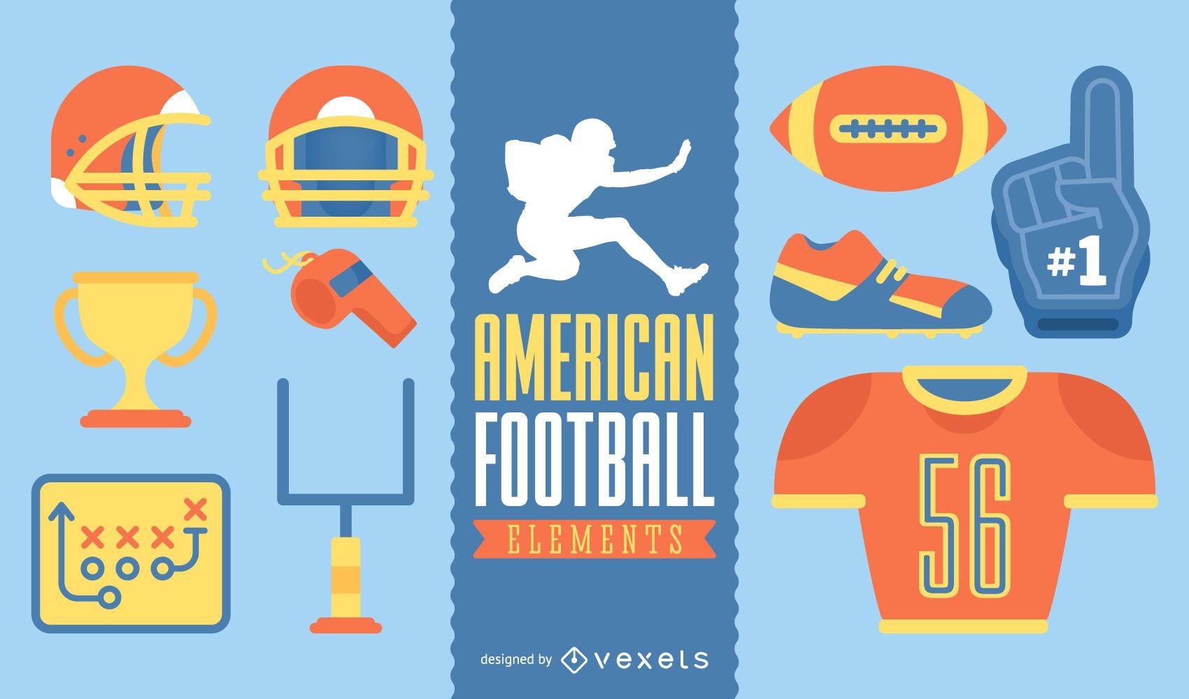 Conjunto de elementos ilustrados de fútbol americano
