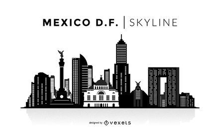 Skyline de silhueta da cidade do México