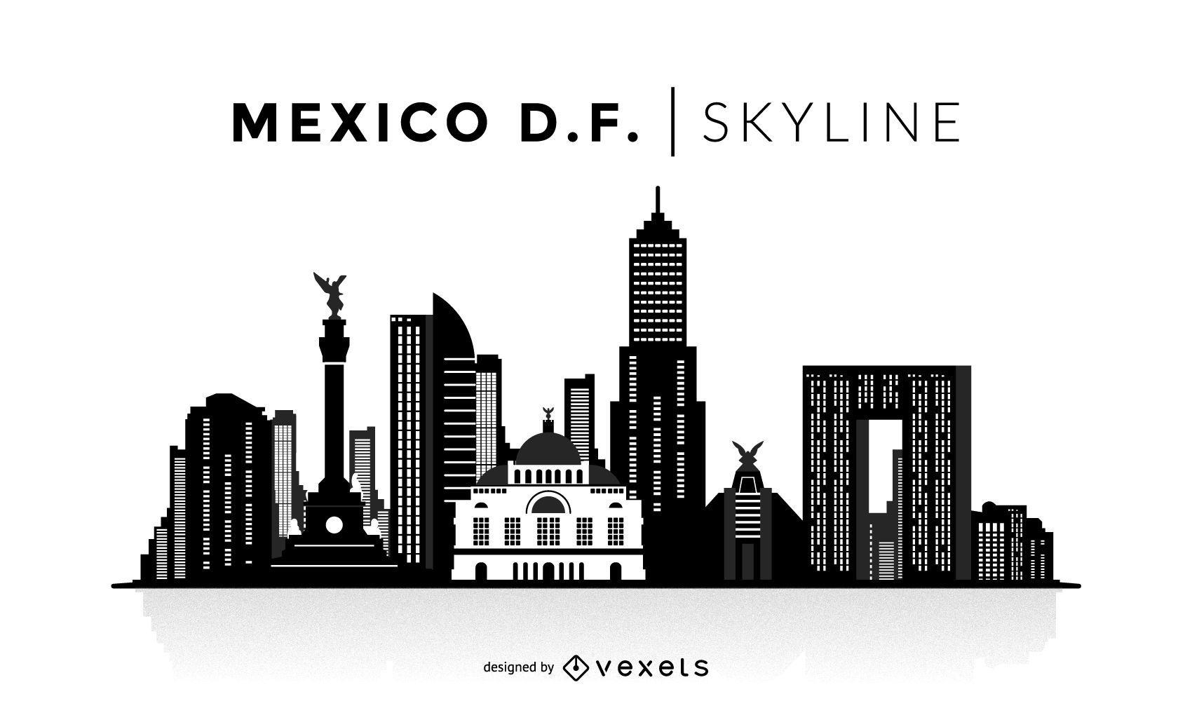 Horizonte de silueta de la ciudad de México