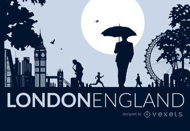 Skyline von London mit Menschen