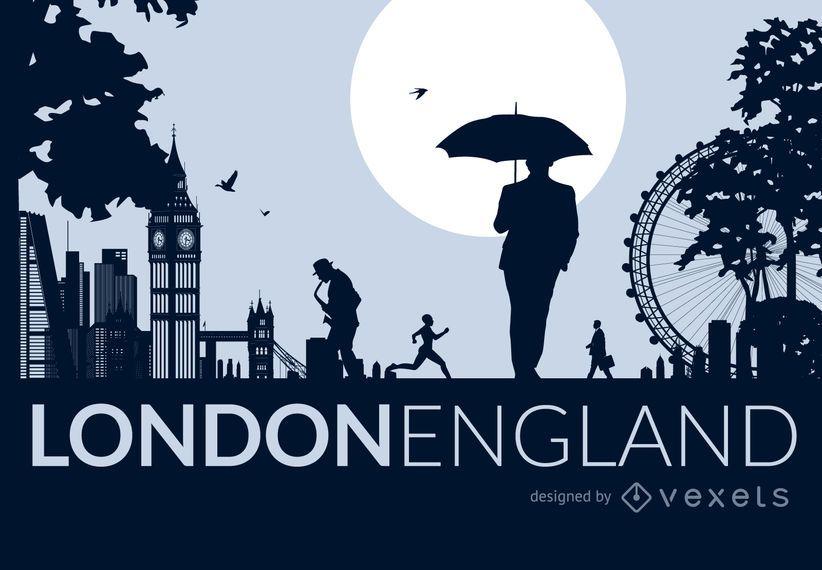 Horizonte da cidade de Londres com pessoas
