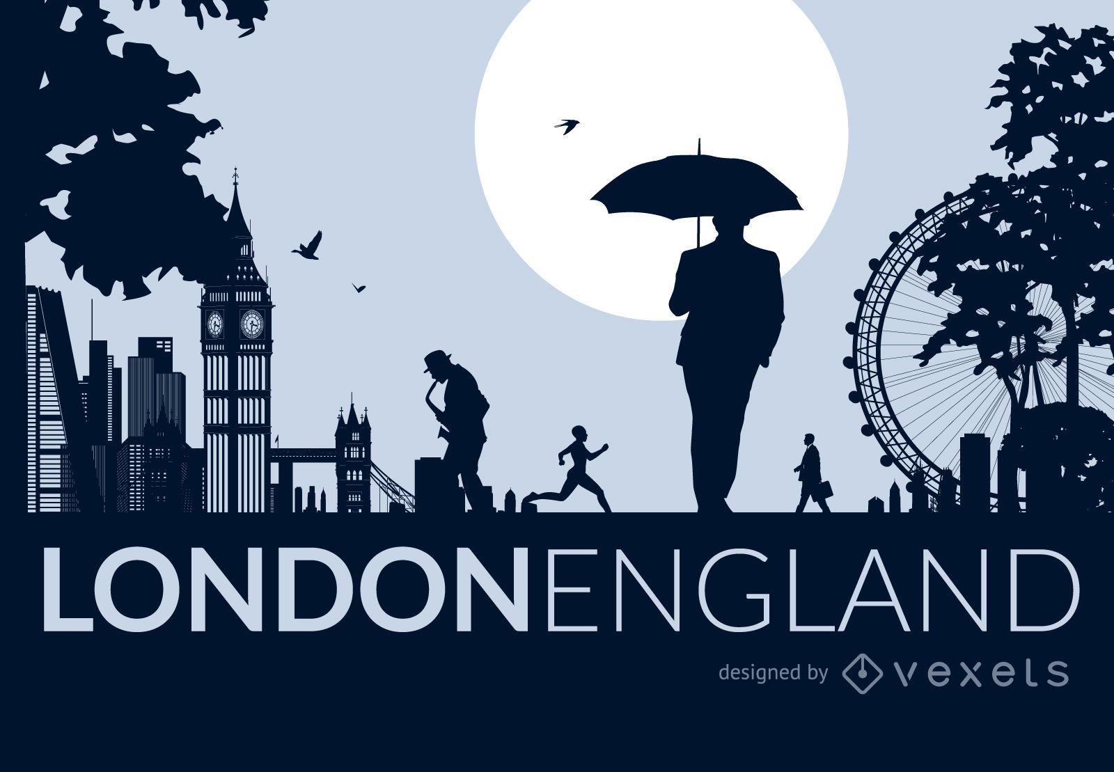 London city skyline with people