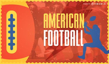 Buntes Plakat des amerikanischen Fußballs