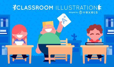 Ilustração de sala de aula com crianças