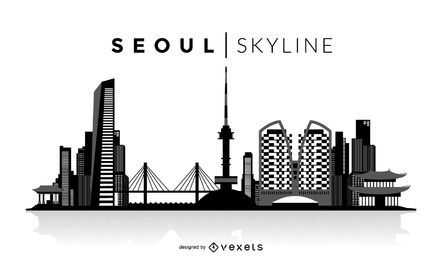 Seoul skyline black silhouette