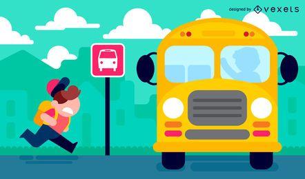 Kid indo para a escola na ilustração do ônibus