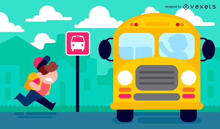 Garoto indo para a escola na ilustração de ônibus