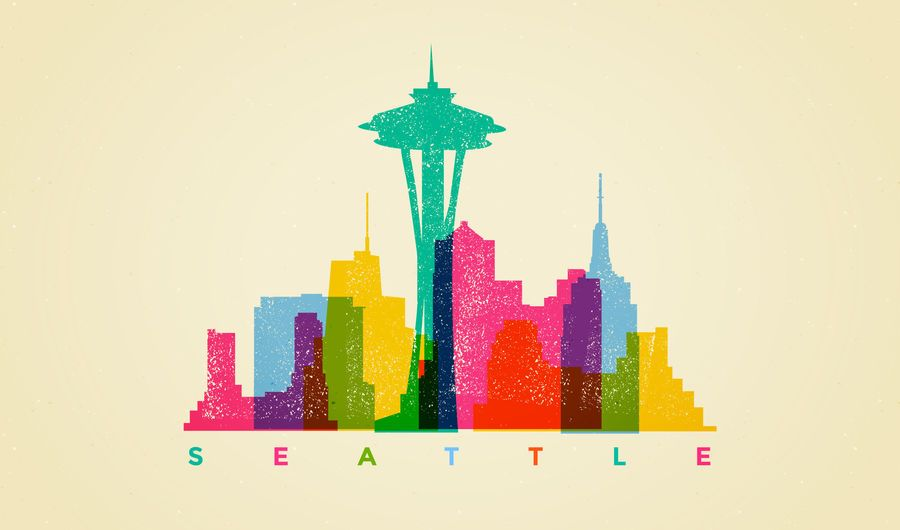 Colorful Seattle skyline