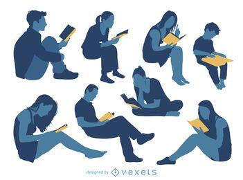 Conjunto de silhueta de leitura de pessoas