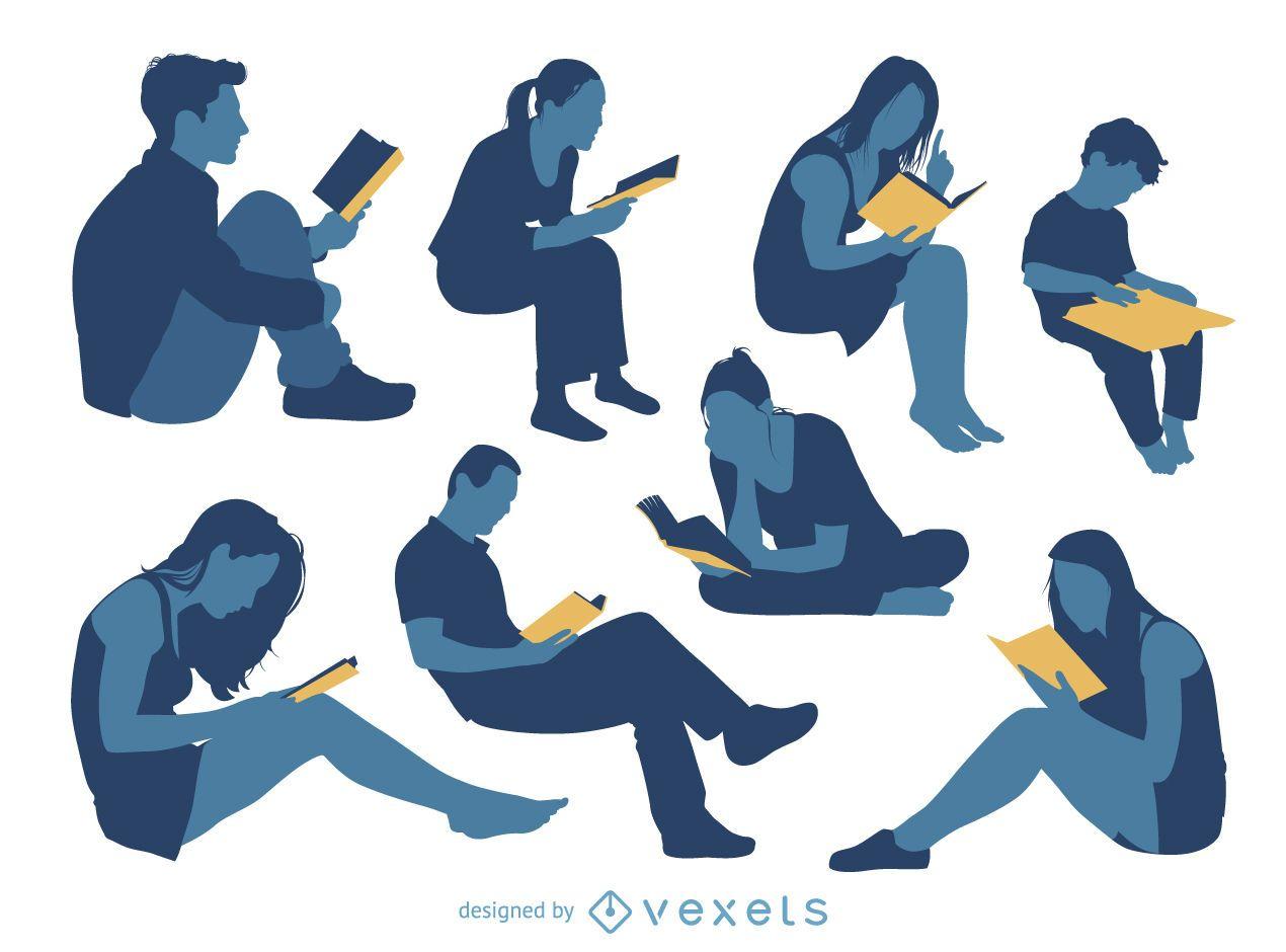 Pessoas lendo conjunto de silhueta