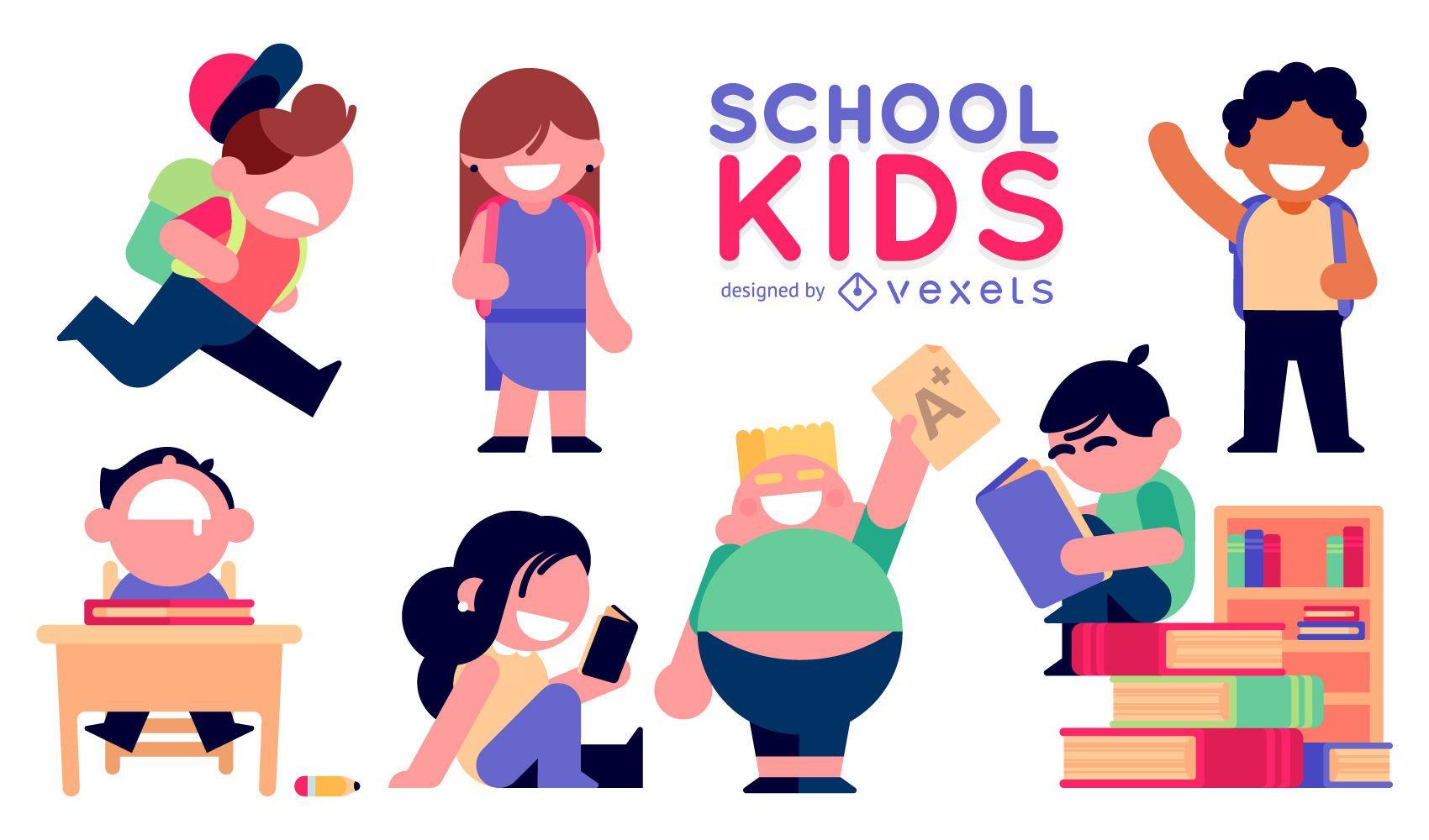 Ilustrações de crianças em idade escolar