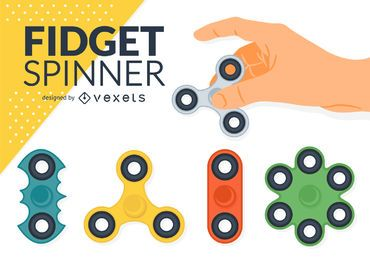 Fidget Spinner illustrations set