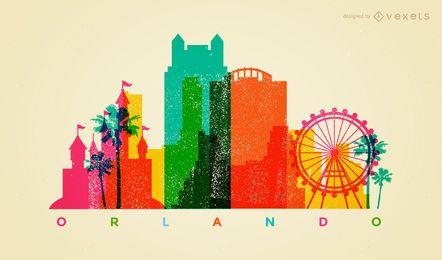 Skyline de Orlando colorido