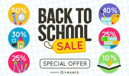 Back to School sale sign set