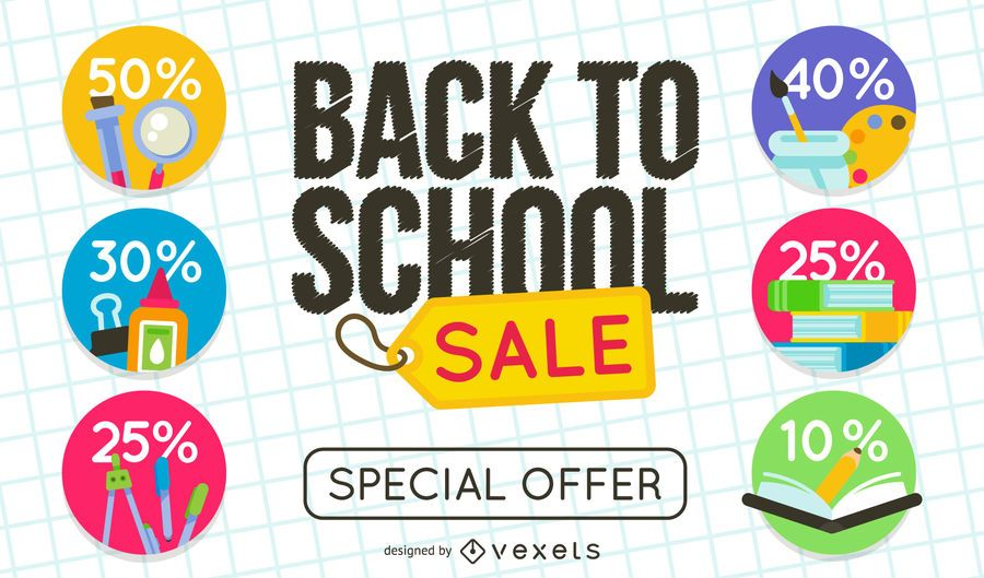 a125559c8d Back to School sale sign set - Vector download
