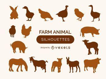 Coleção de silhueta animal de fazenda