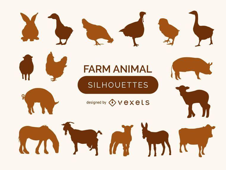 Colección de siluetas de animales de granja.