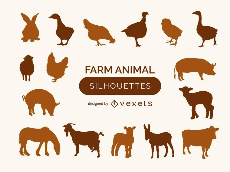 Farm animal silhouette collection