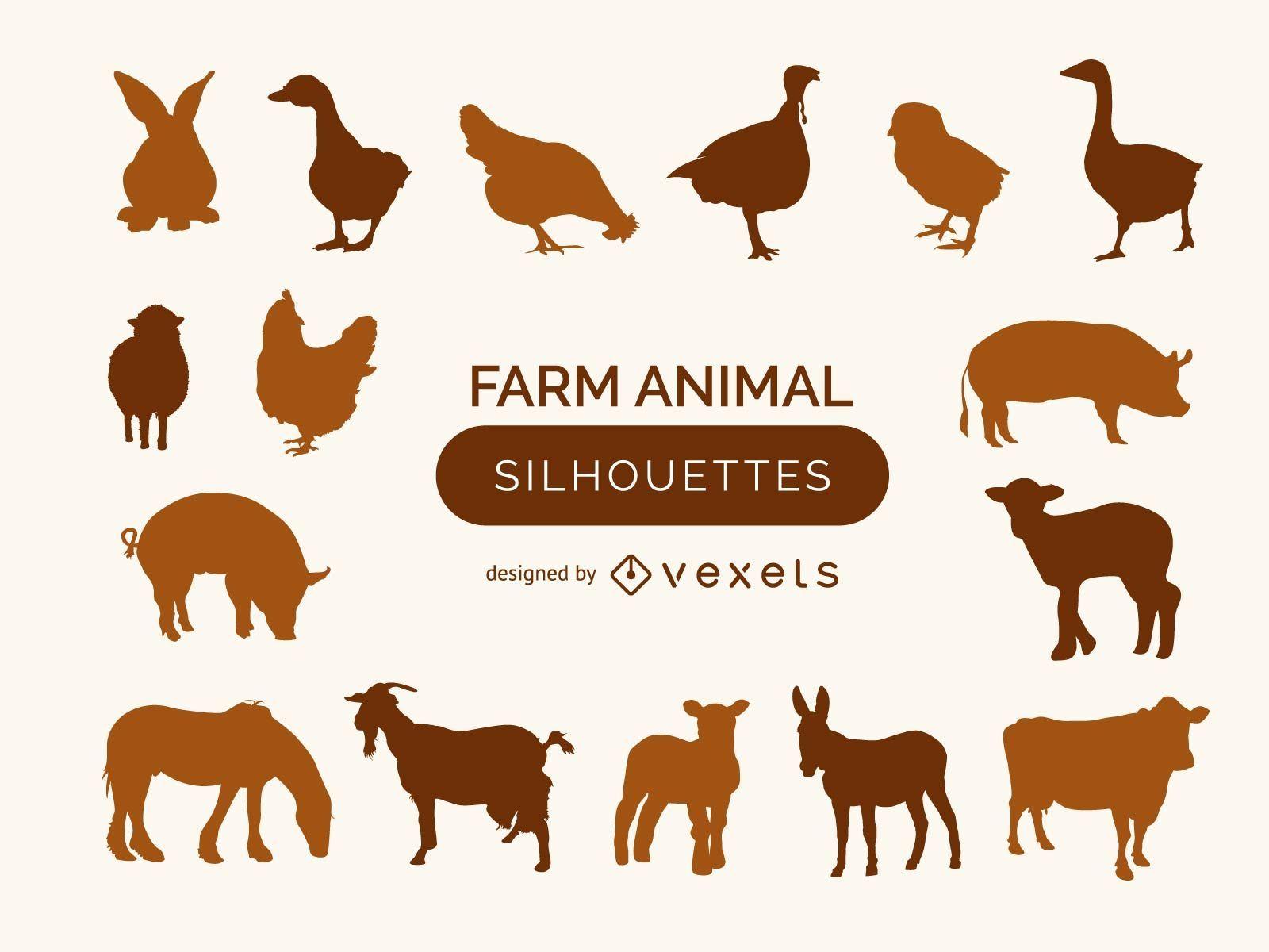 Colección de siluetas de animales de granja