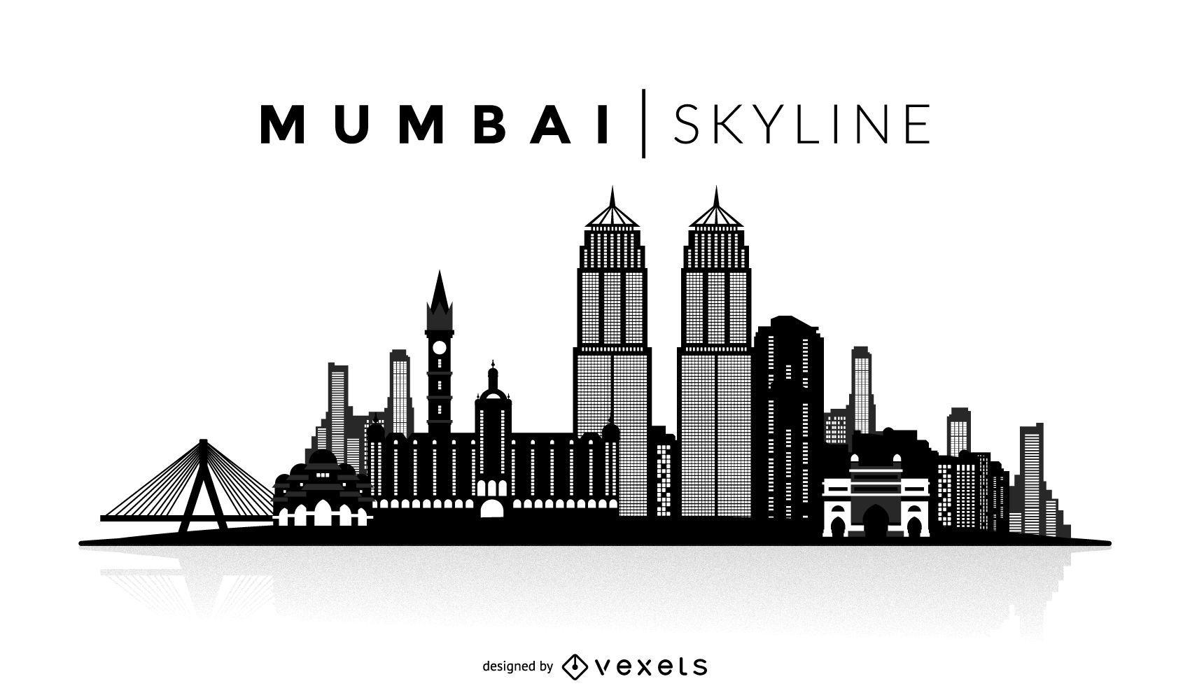 Mumbai silhouette skyline