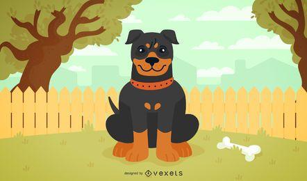Ilustración de perro plano