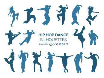 Colección de la silueta de los bailarines de Hip Hop