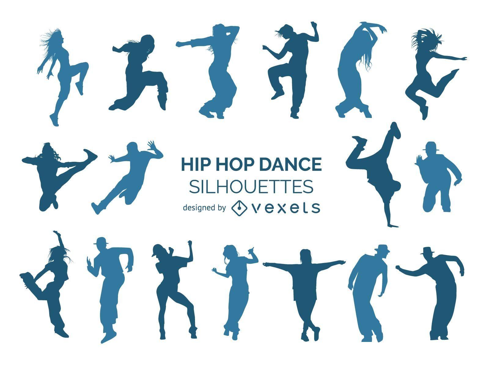 Colección de silueta de bailarines de hip hop