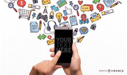 Imagen de iphone con iconos garabatos