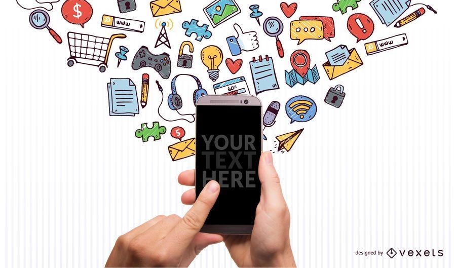 Imagen de Iphone con iconos garabateados