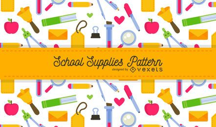 Bright school supplies pattern