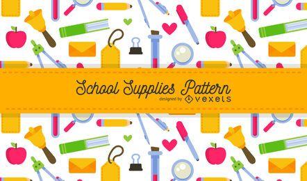 Patrón de útiles escolares brillantes