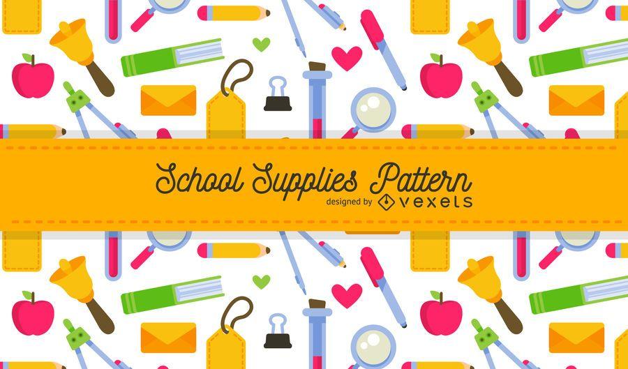 Bright school supplies pattern