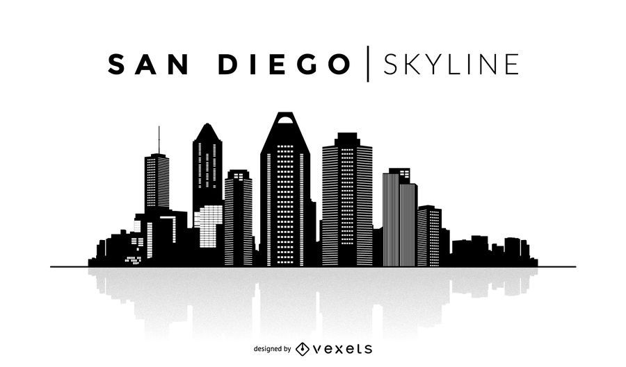San Diego Silhouette Skyline Vector Download