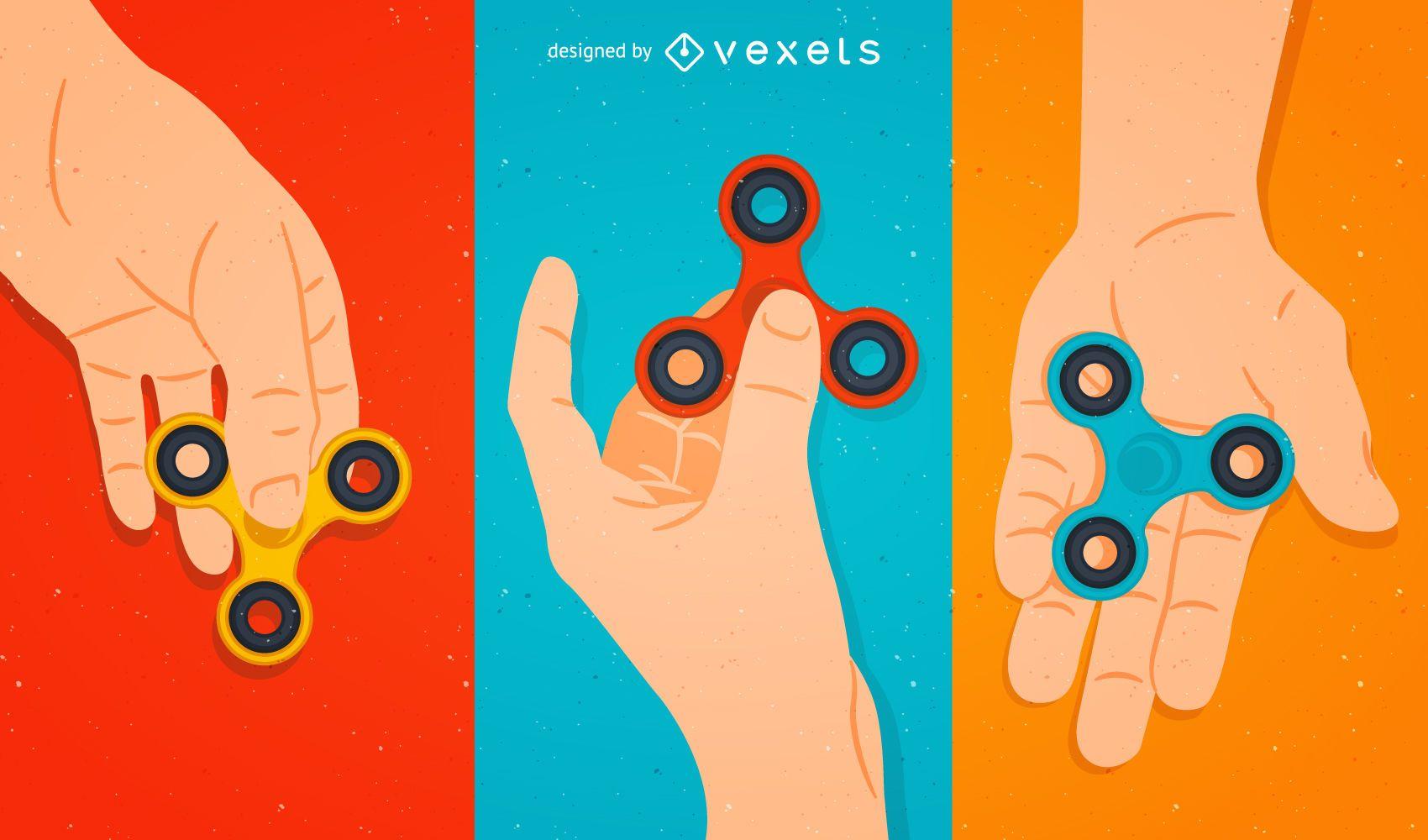 Fidget Spinner illustration set